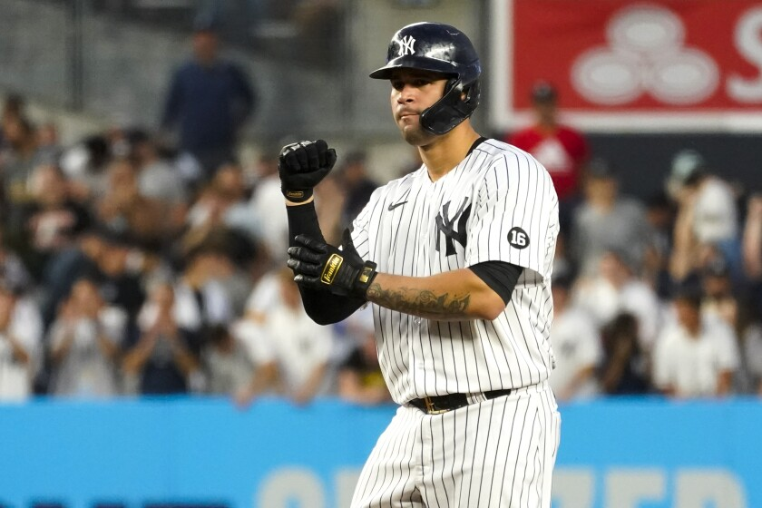 New York Yankees' Gary Sanchez reacts after hitting an an RBI double during the third inning of the team's baseball game against the Baltimore Orioles, Tuesday, Aug. 3, 2021, in New York. (AP Photo/Mary Altaffer)