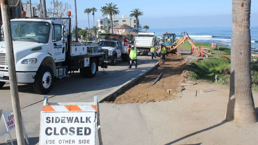 Day 1: Construction starts at the Whale View Point sidewalk construction site, April 4 as City crews