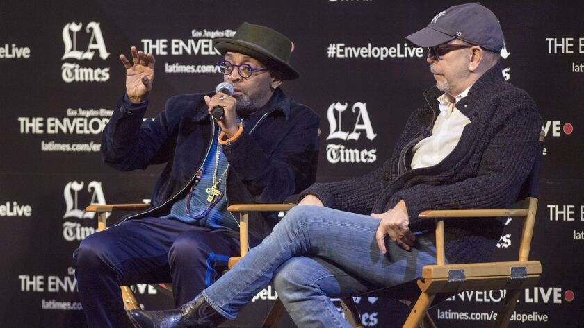 """Director Spike Lee, left, and editor Barry Alexander Brown talk about """"BlacKkKlansman"""" at an Envelope Live screening at the Montalbán in Hollywood."""