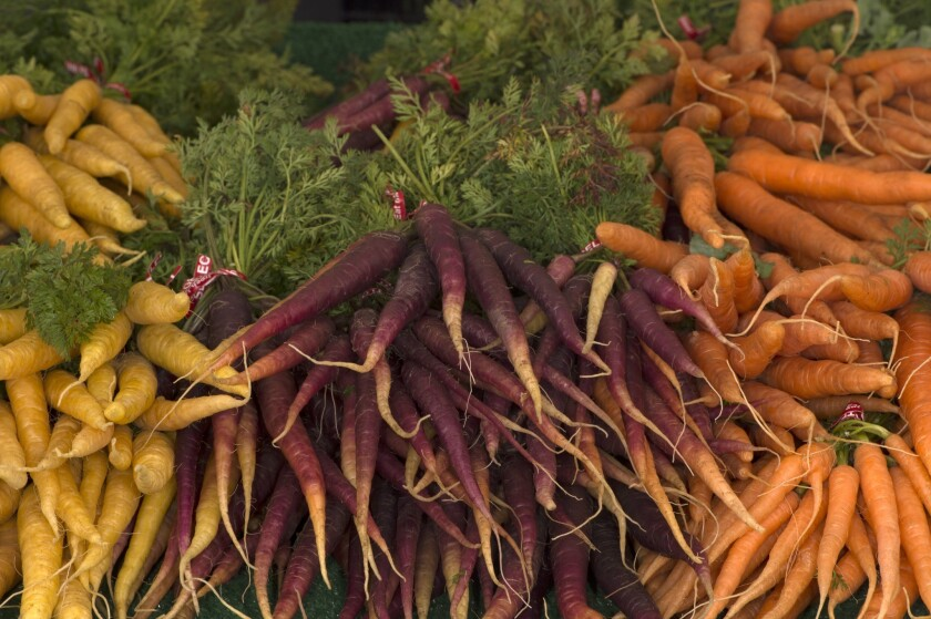 Yellow, purple and orange carrots from Weiser Family Farms in Tehachapi.