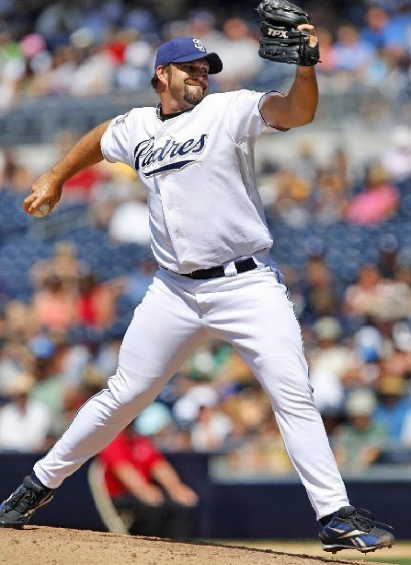Padres reliever Heath Bell is tied with Brian Fuentes of the Los Angeles 