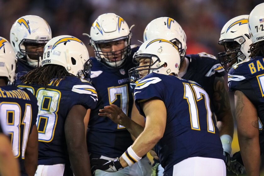 Philip Rivers, here directing a huddle in a game against the Chicago Bears, cherishes the opportunity to lead an NFL team.