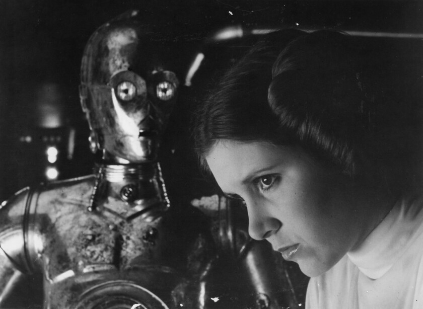 Carrie Fisher made her debut as Princess Leia in George Lucas' 1977 movie, released by 20th Century Fox.