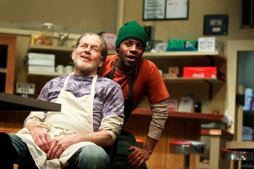 "Robert Foxworth (left) and Anthony B. Phillips in ""Superior Donuts"" at San Diego Repertory Theatre."