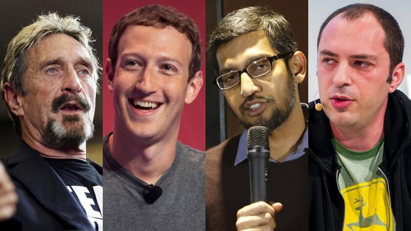 Antivirus software developer John McAfee, from left, Facebook CEO Mark Zuckerberg, Google chief Sundar Pichai and WhatsApp CEO Jan Koum have weighed in on the controversy over unlocking a terrorist's iPhone.