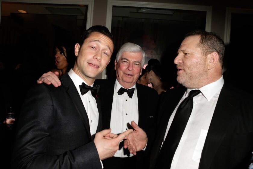 "Ex-Sen. Chris Dodd, center, with Joseph Gordon-Levitt, left, and Hollywood mogul Harvey Weinstein, in 2013: Head of the MPAA, but not a ""lobbyist""?"