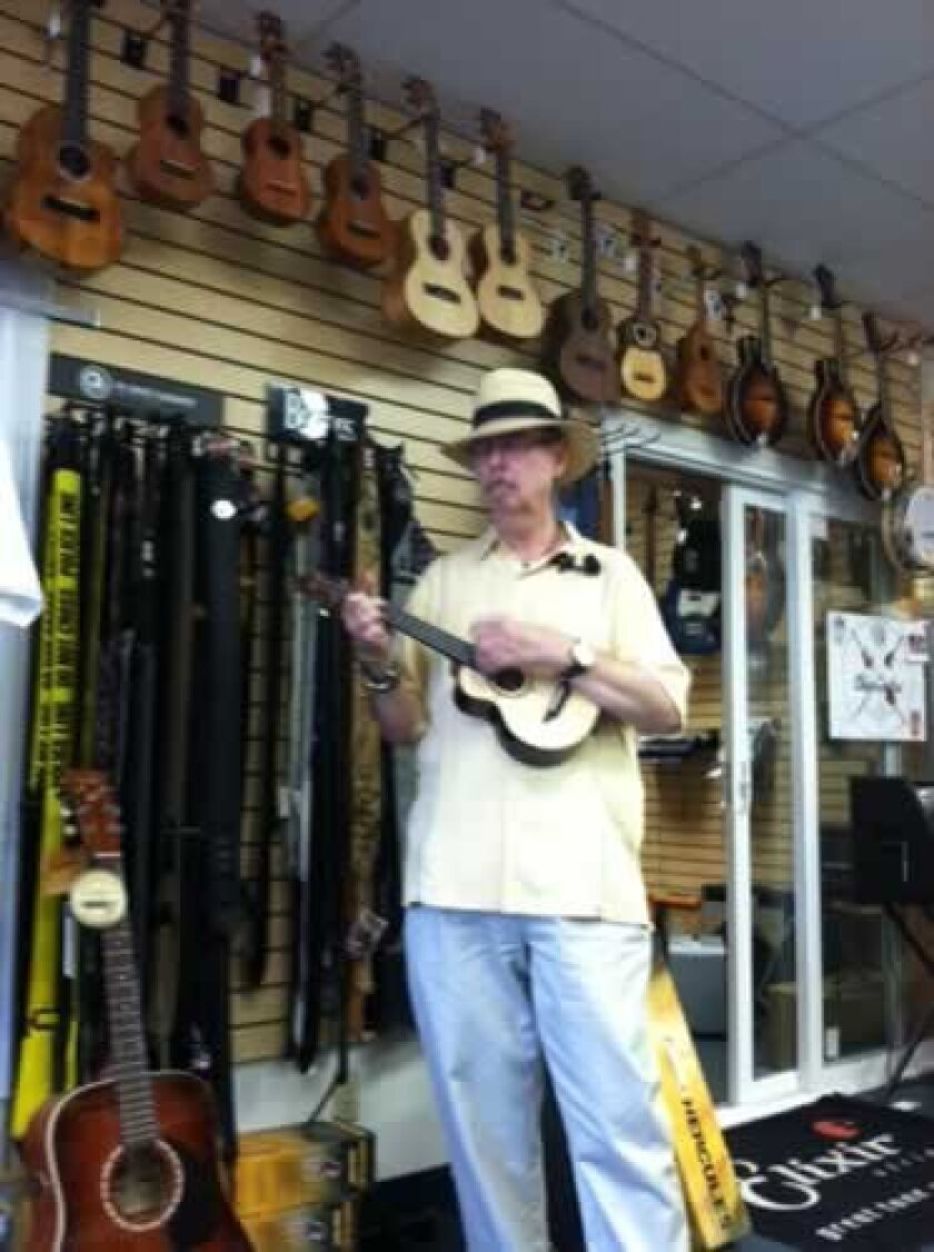 DeForest Thornburgh, , a uke player and proprietor of Blue Guitar, a store in Mission Gorge area. David L. Coddon
