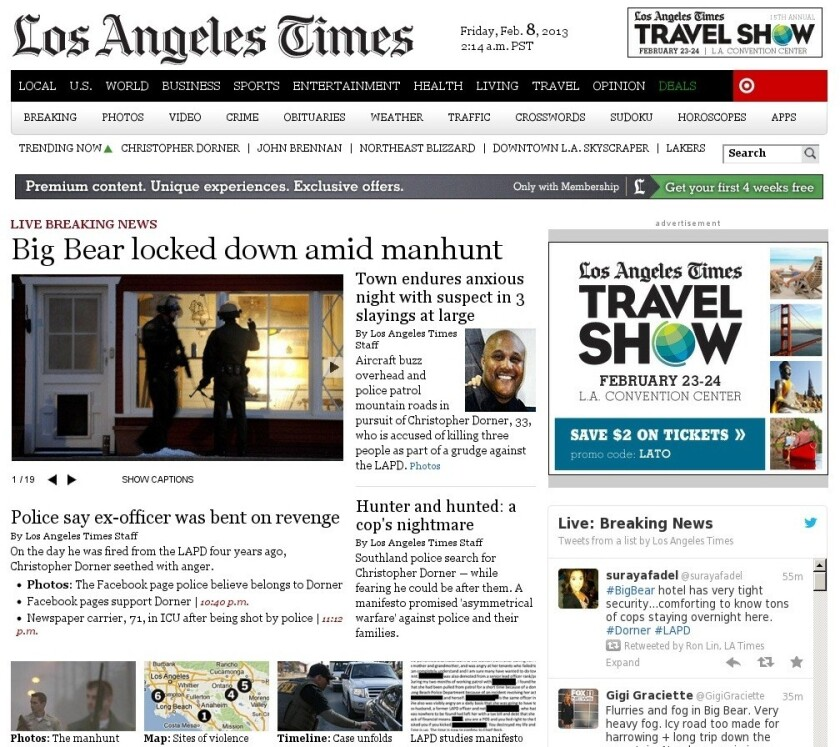 Latimes.com from Feb. 8, 2013, with news of manhunt for Christopher Dorner.