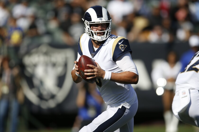 Rams quarterback Blake Bortles looks to pass against the Oakland Raiders during the first half on Saturday in Oakland.