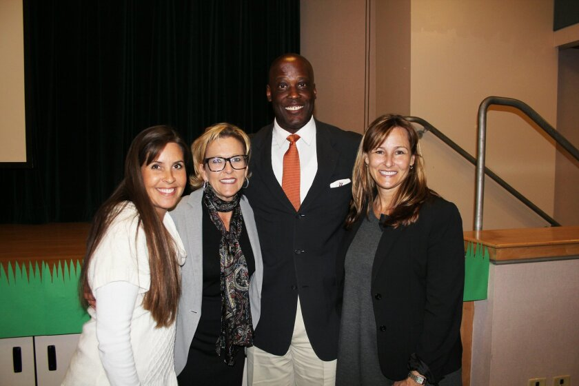 Maria Grantham, DMSEF vice president of marketing, Superintendent Holly McClurg, DMSEF President Ty Humes and Shelley Petersen, assistant superintendent of instructional services. Photo by Karen Billing