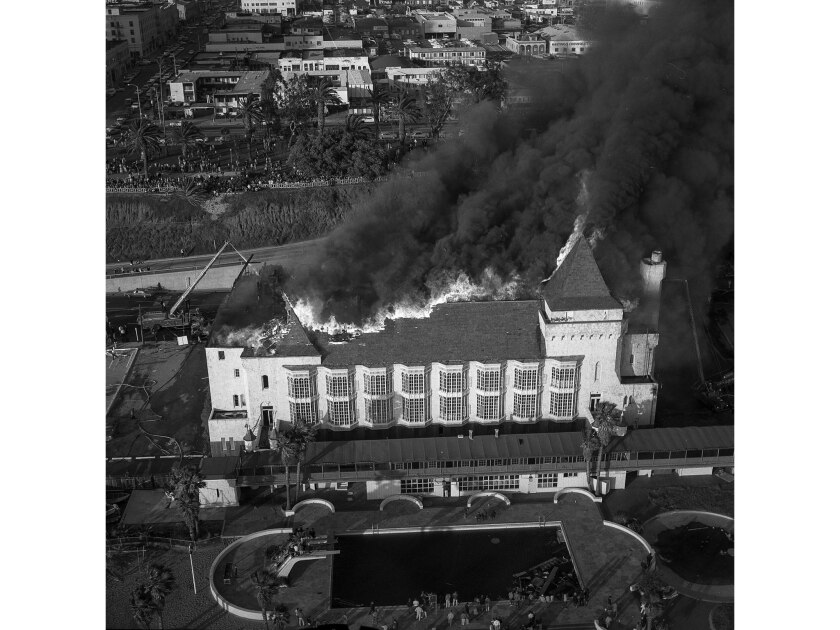 April 5, 1964: The Deauville Beach Club on Pacific Coast Highway in Santa Monica goes up in flames s
