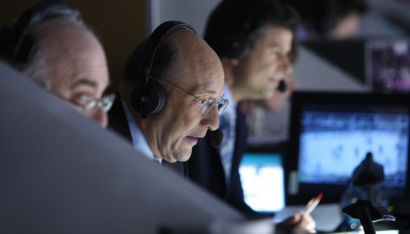 Kings play by play announcer Bob Miller calls the game against Oilers at Staples Center on April 10,
