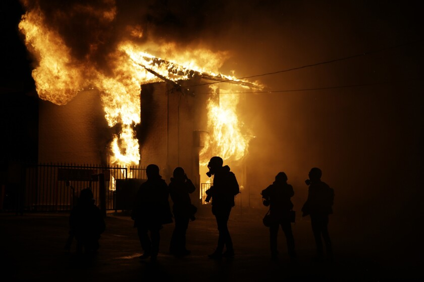 A fire in Ferguson, Mo., after the Michael Brown case grand jury decision