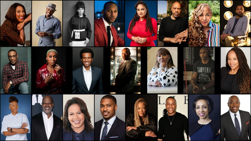 A photo grid of 23 entertainment industry leaders interviewed about George Floyd, race and Hollywood