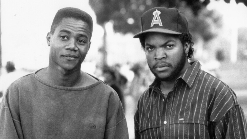 "Cuba Gooding Jr., left, and Ice Cube star in the movie ""Boyz N the Hood."""