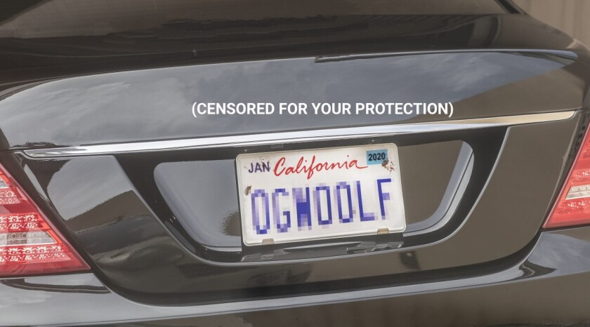 """A mock-up of the personalized license plate """"OGWOOLF"""""""