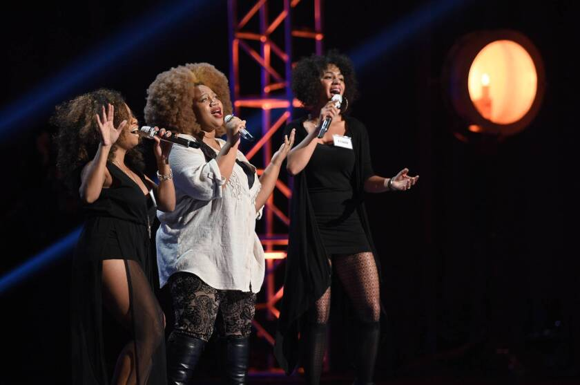"""Contestants compete in the Hollywood group round on """"American Idol."""""""