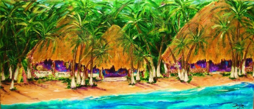"""Tropical Bar"" by Mike Doyle. Work by Doyle, Wade Koniakowsky and Josh Bowman will be on exhibit Nov. 7 at the Del Mar office of Torrey Pacific Properties."