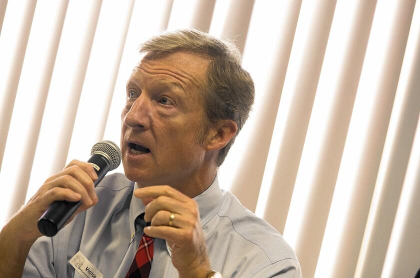 Tom Steyer speaks at McClatchy High School in Sacramento.
