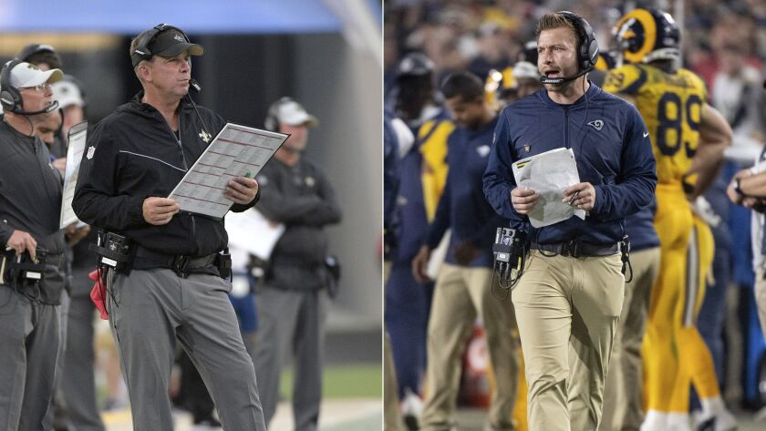 Saints coach Sean Payton, left, and Rams coach Sean McVay have guided their respective squads to the NFC championship game.