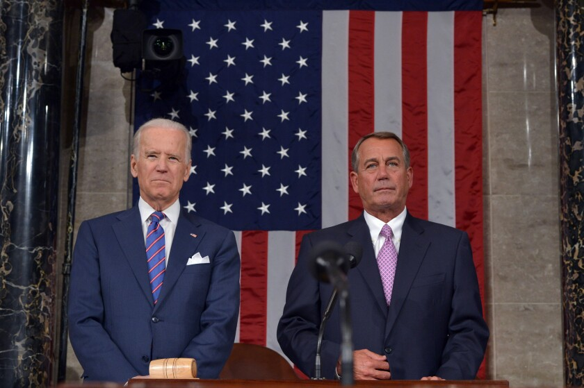 Vice President Joe Biden and Speaker of the House John Boehner attend the State of The Union address in January. Biden won't be on hand to attend a speech by Israeli Prime Minister Benjamin Netanyahu next month.