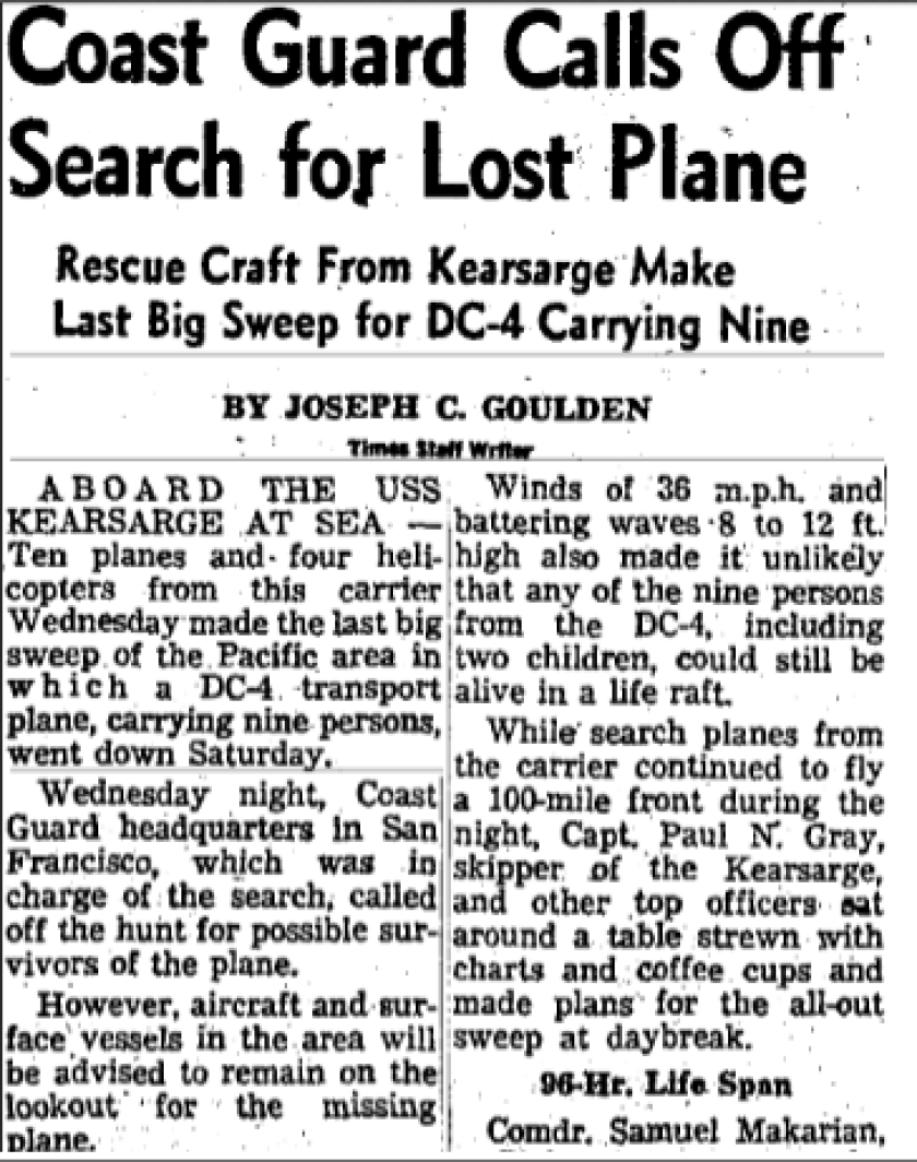 Times coverage of a lost plane in 1964.