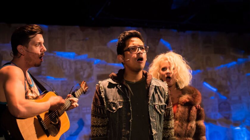 """William A. Williams, Justin Huertas and Kirsten deLohr Helland star in Diversionary Theatre's """"Lizard Boy the Musical."""""""