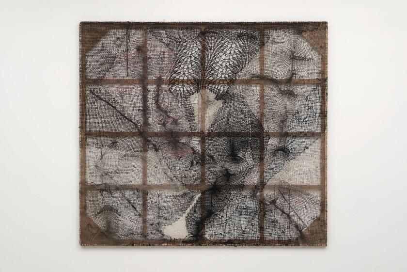 Channing Hansen's knitted art at Marc Selwyn