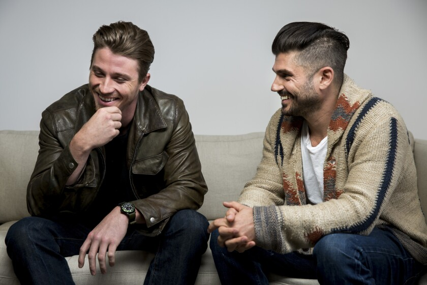 """Actor Garrett Hedlund, left, and director Andrew Levitas of the film """"Lullaby"""" at the Los Angeles offices of publicists 42 West."""