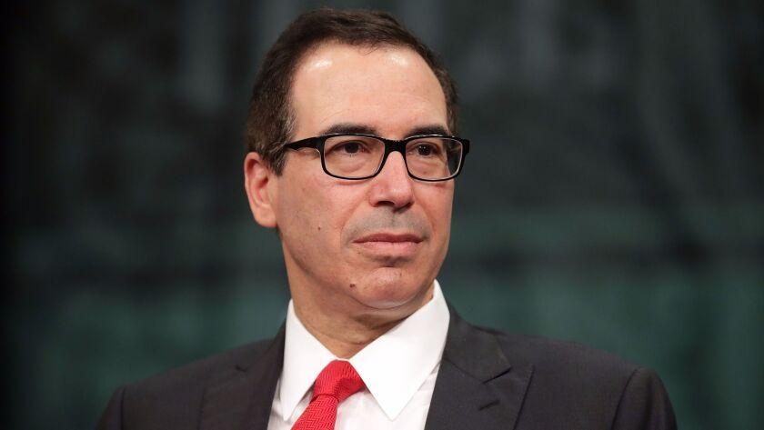 WASHINGTON, DC - APRIL 26: Treasury Secretary Steven Mnuchin participates in an interview during Th