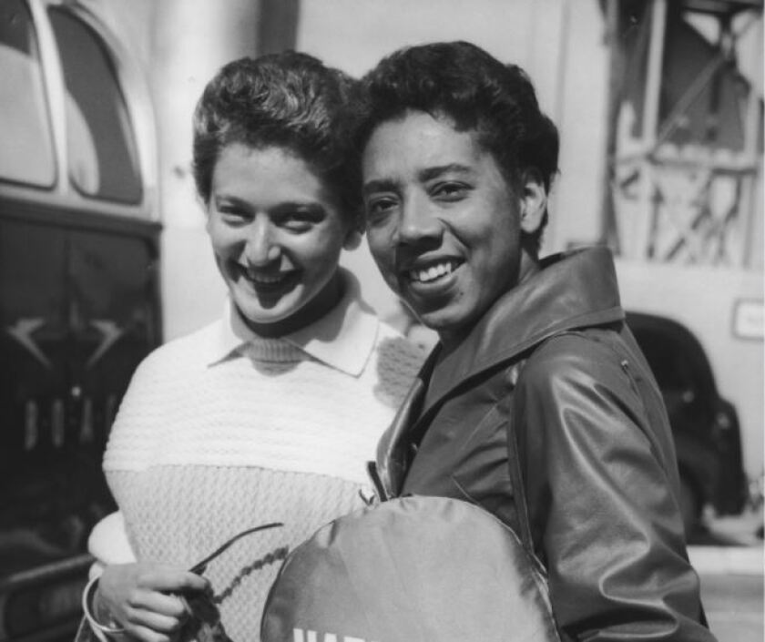 Angela Buxton, left, and Althea Gibson in London in 1958