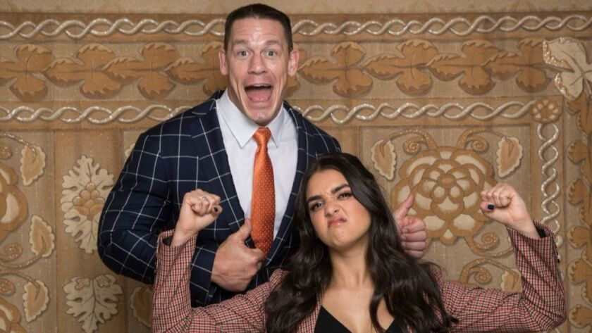 "On-screen father-and-daughter John Cena and Geraldine Viswanathan, who star in ""Blockers,"" pose for portraits at the Montage Beverly Hills hotel in Beverly Hills on March 21, 2018."