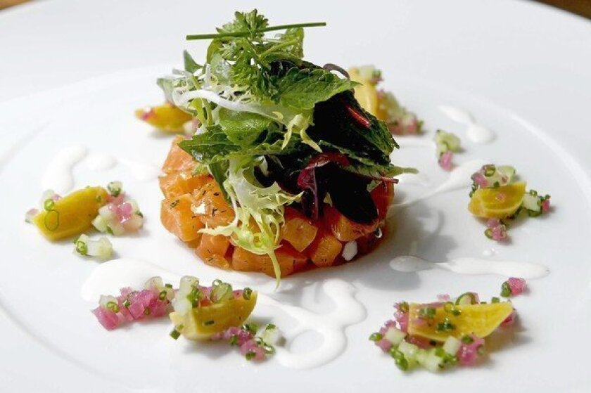 House-cured char with heirloom beets, fresh horseradish and tossed herb salad.