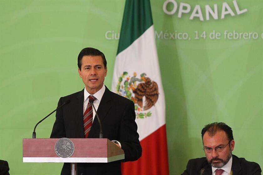 El presidente de México, Enrique Peña Nieto (c), acompañado por el secretario de Relaciones Exteriores de México (SRE), Luis Videgaray (d), habla durante la 25 sesión de la conferencia general del Organismo para la Proscripción de las Armas Nucleares en América Latina y el Caribe (Opanal) y el 50 aniversario de la firma del tratado de Tlatelolco, que se lleva a cabo en Ciudad de México (México). EFE
