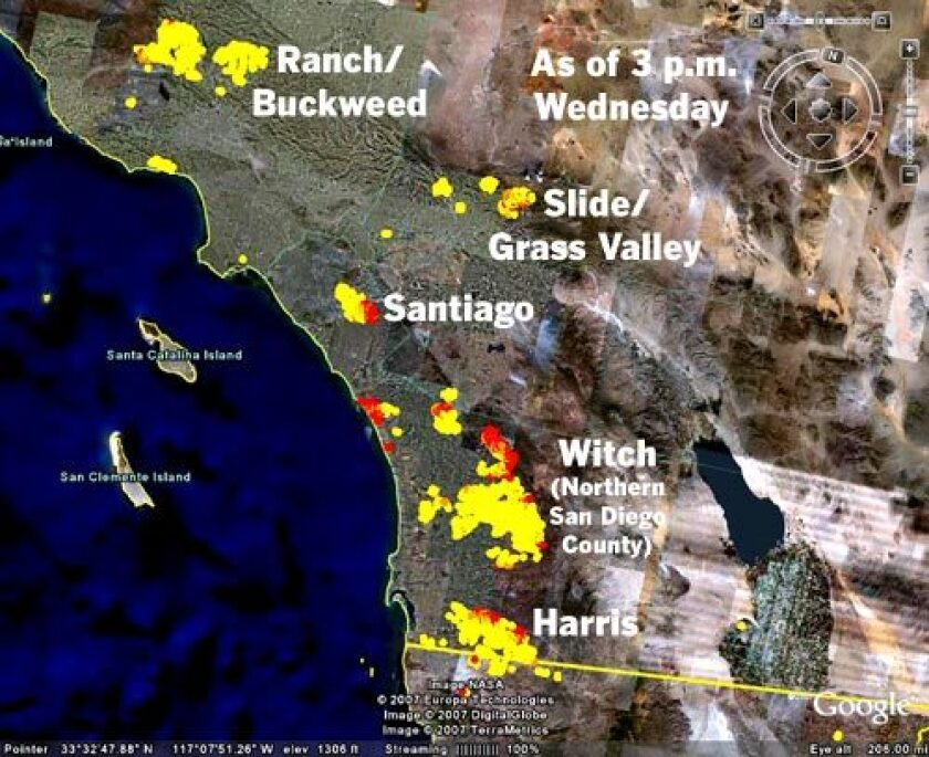 Southern California fire perimeters (as of 1 p.m. Friday)