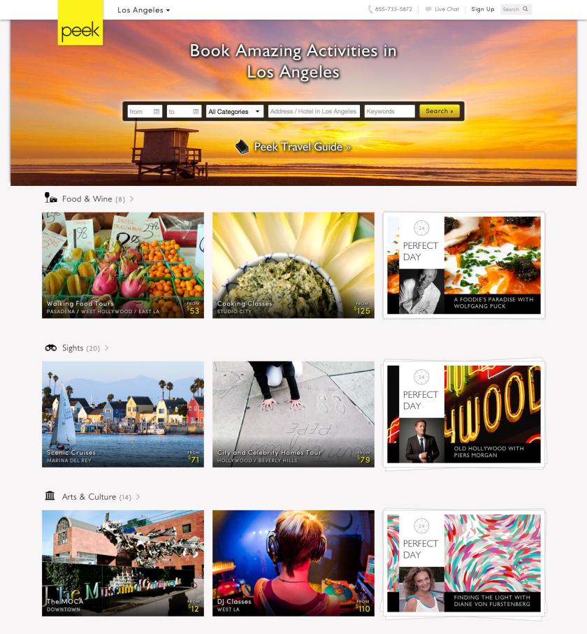 Peek.com, a tourist activities website, now features Los Angeles