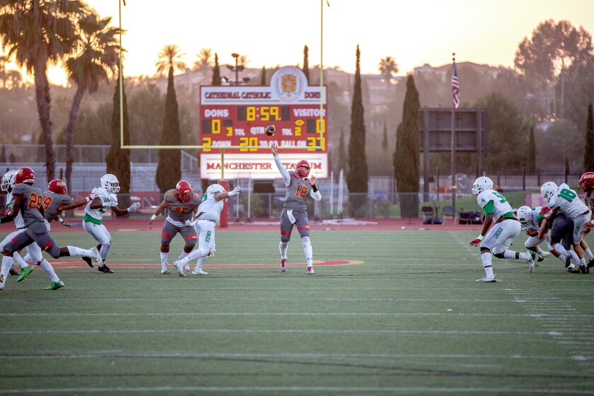 Cathedral Catholic High School played Lincoln High on April 9, the same day racist social media posts were discovered.