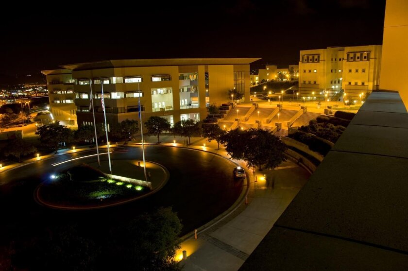 Night lighting as it was at Cal State San Marcos before power-miser alternatives were installed.
