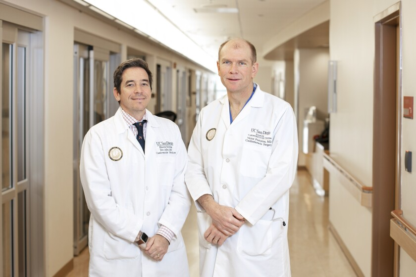 Dr. Eric Adler (left) and Dr. Victor Pretorius, respectively medical and surgical directors of the heart transplant program at UC San Diego Health, recently learned that their program has the best one-year survival results in the United States.