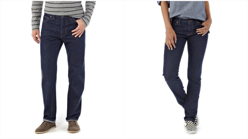 One of the men's styles, left, and one of the women's from Patagonia's new denim line.