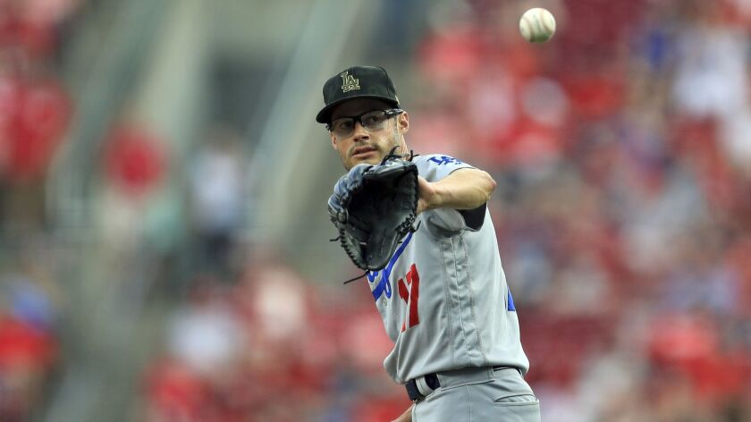 Dodgers' Joe Kelly pitches during a game against the Cincinnati Reds on May 18 in Cincinnati.