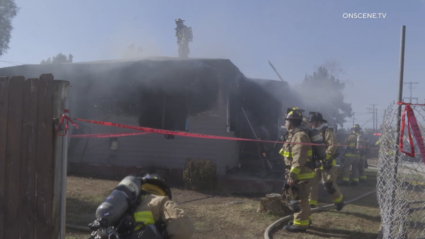 Firefighters put out a fire at a home under construction in Valencia Park Tuesday afternoon.