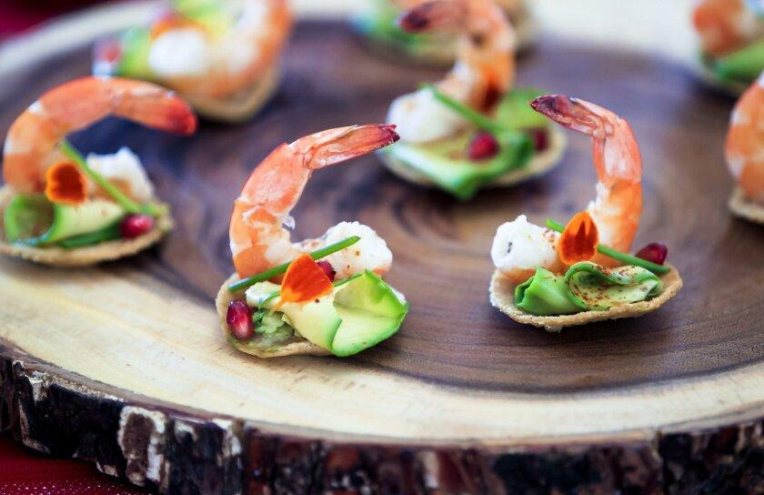 Avocado and shrimp mini tostadas made by MasterChef winner Claudia Sandoval.