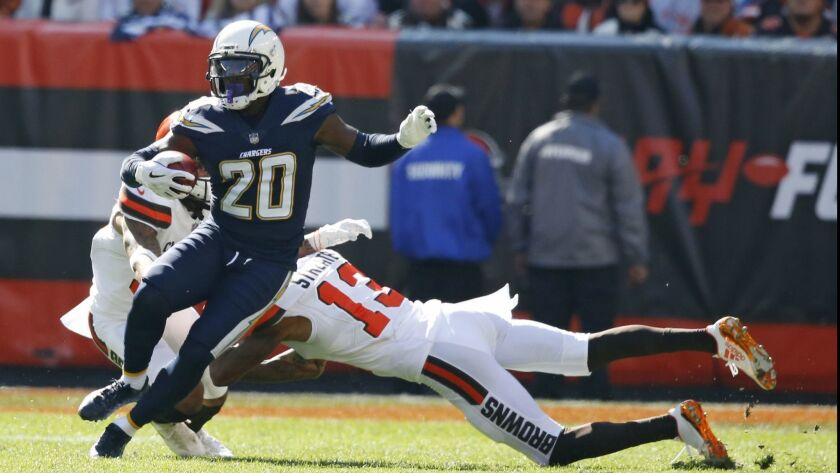 Los Angeles Chargers defensive back Desmond King (20) returns a punt in the first half during an NFL