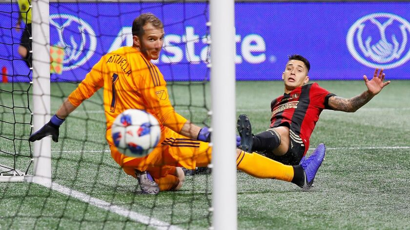Franco Escobar of Atlanta United scores the second goal past goalkeeper Jeff Attinella of Portland Timbers in the second half during the 2018 MLS Cup.