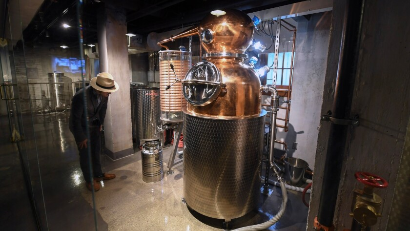 A working, 60-gallon copper pot still is seen during the unveiling of the Mob Museum's distillery an