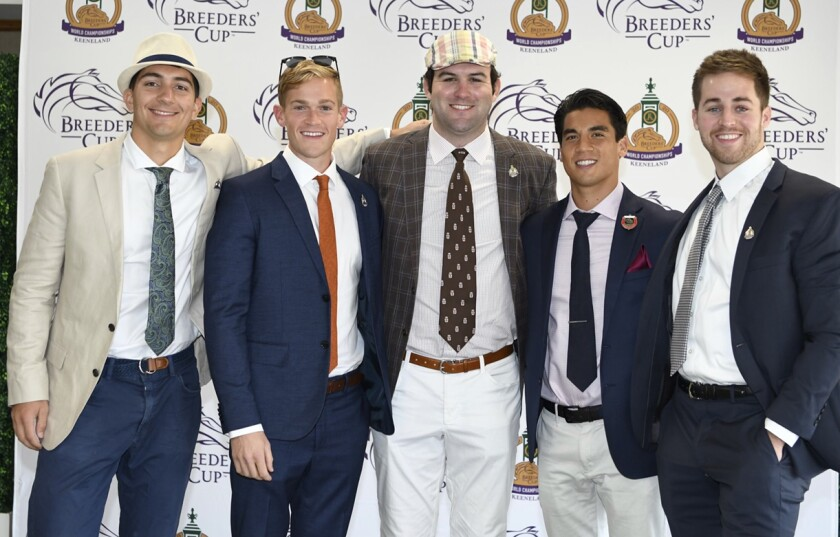 Dan Giovacchini, Reiley Higgins, Alex Quoyeser, Patrick O'Neill and Eric Armagost attend the Breeders' Cup at Keeneland.