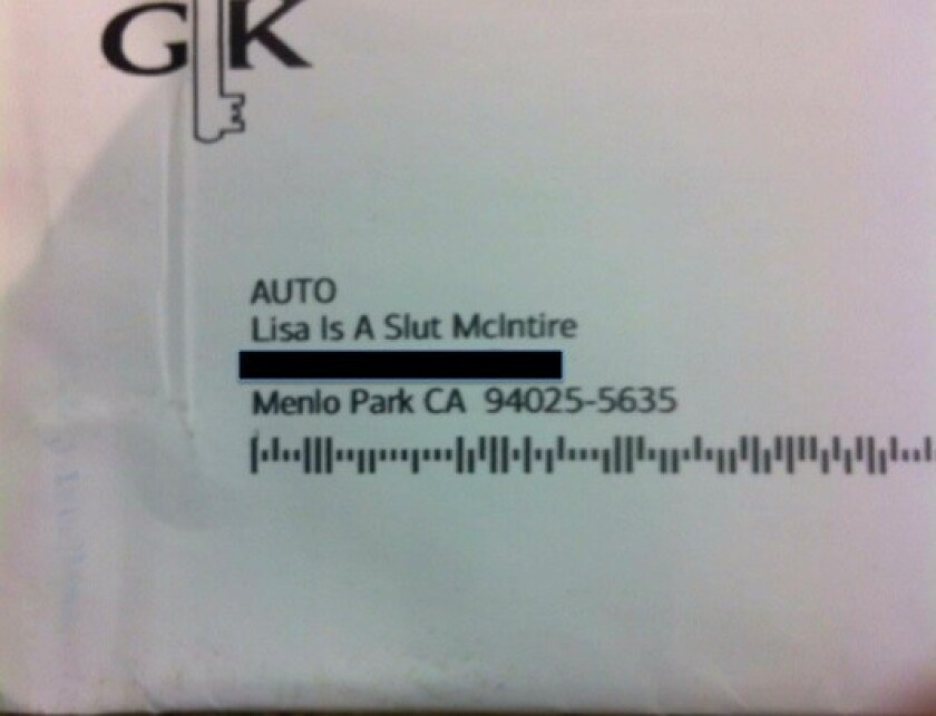 Lisa McIntire, a feminist writer in San Francisco, says Bank of America tried to send her this junk mail to her mother's home in Menlo Park, Calif. It was sent as an offer connected to McIntire's membership in the Golden Key International Honour Society.