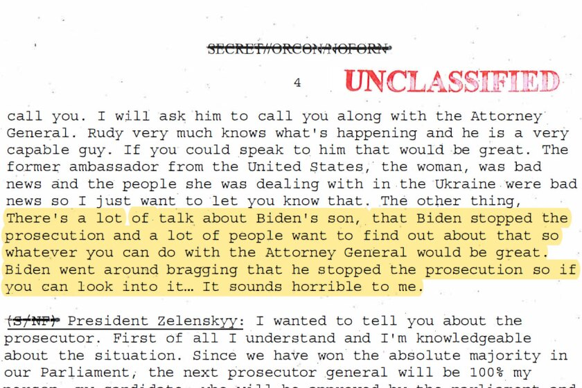 A portion of the White House memo on Trump's July 25 call with Ukraine's president.