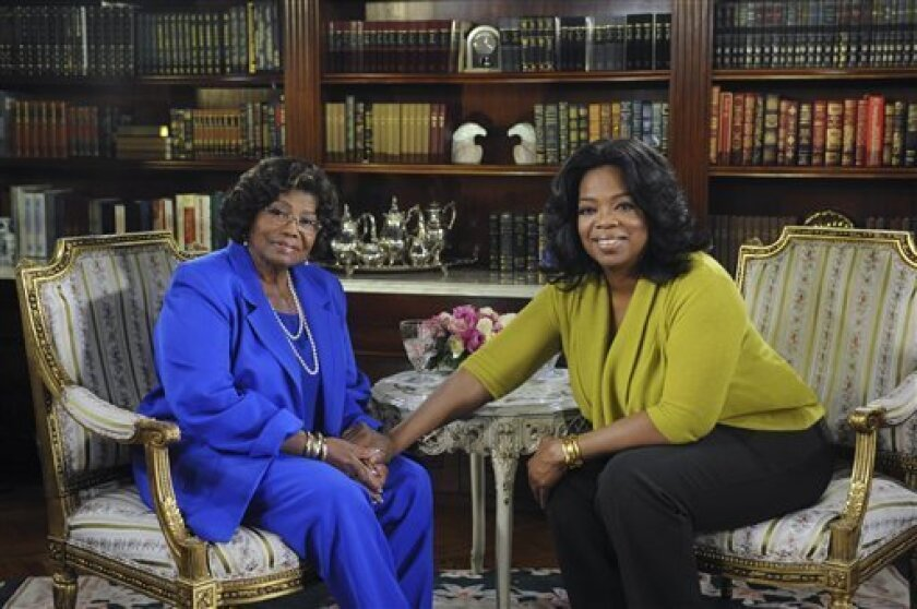 """This photo taken Oct. 9, 2010 and provided by Harpo Productions Inc., shows Katherine Jackson, left, mother of the late king of pop Michael Jackson, reflecting on the life of her son with Oprah Winfrey during taping in Los Angeles for """"The Oprah Winfrey Show."""" The show will air nationally on Monday, Nov. 8. (AP Photo/Harpo Productions Inc., Robin Layton)"""